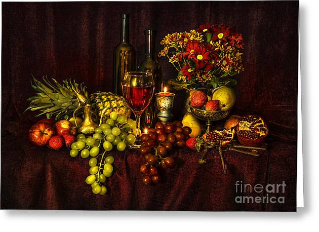 Glass Bottle Greeting Cards - Feast of Food Greeting Card by Svetlana Sewell