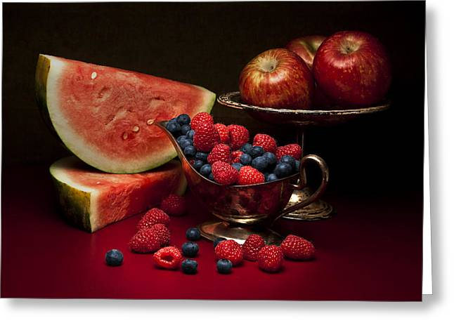 Silver Pitcher Greeting Cards - Feast of Red Still Life Greeting Card by Tom Mc Nemar