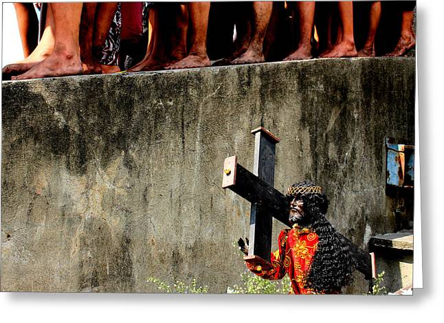 Streetphotography Greeting Cards - Feast of the Black Nazarene Philippines 2014  Greeting Card by Arth Figueroa Jumagdao
