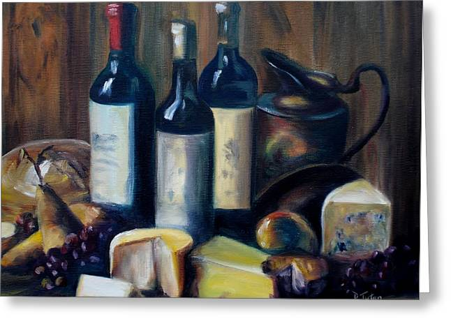 Fruit And Wine Greeting Cards - Feast Still Life Greeting Card by Donna Tuten