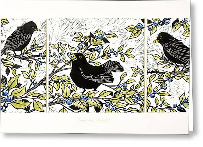 Linocut Mixed Media Greeting Cards - Feasting Thieves Greeting Card by Katharine Green