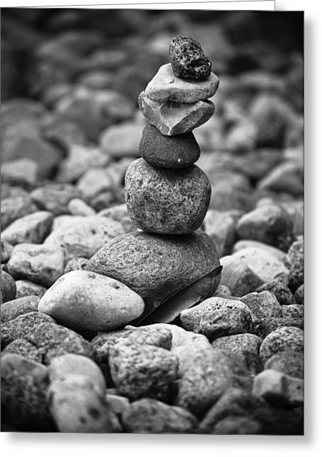 Zen Rock Stacking Greeting Cards - Feather And Stones Greeting Card by Matthew Blum