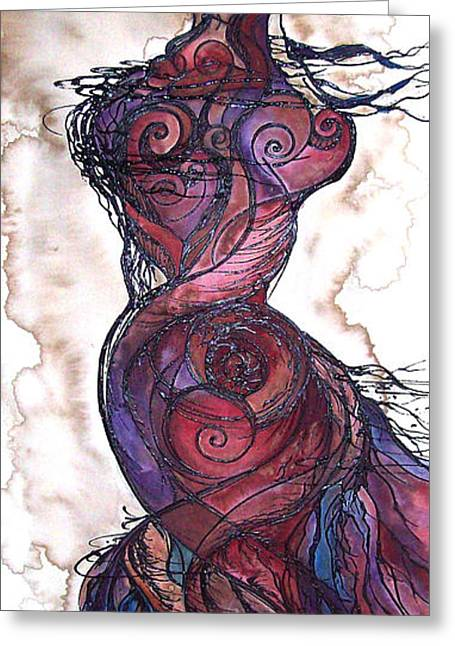 Fertility Paintings Greeting Cards - Feather Flow Greeting Card by Christy  Freeman