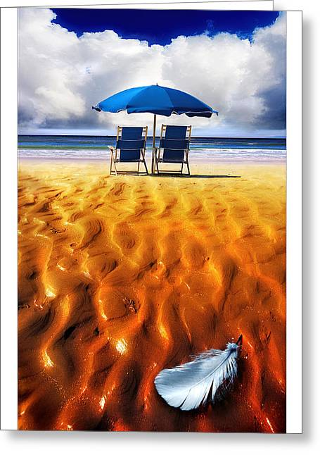 Deckchair Greeting Cards - Feather Light Greeting Card by Mal Bray