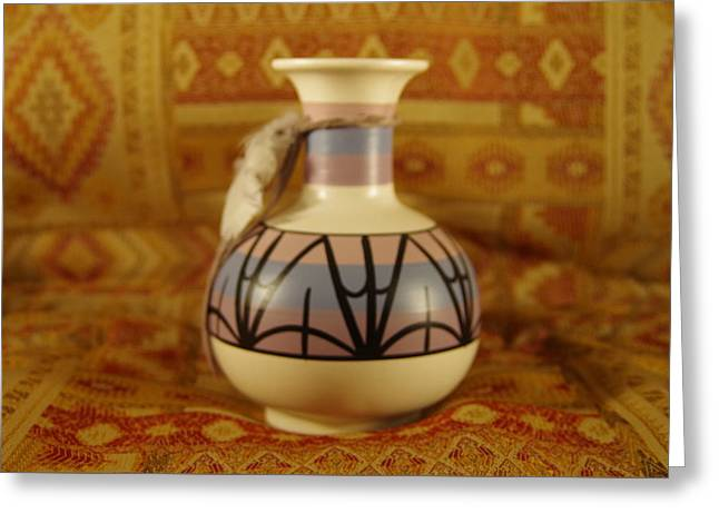 Pot Ceramics Greeting Cards - Feather Vase Greeting Card by Mike Wheeler