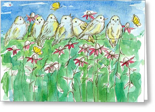 Pen And Ink Drawing Greeting Cards - Feathered Friends Greeting Card by Cathie Richardson