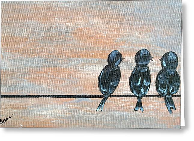 Consolation Greeting Cards - Feathered Friends Greeting Card by Linda Fehlen