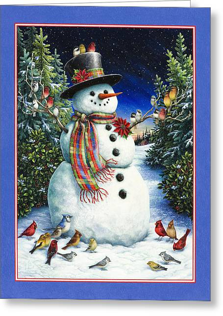 Snowman. Greeting Cards - Feathered Friends Greeting Card by Lynn Bywaters