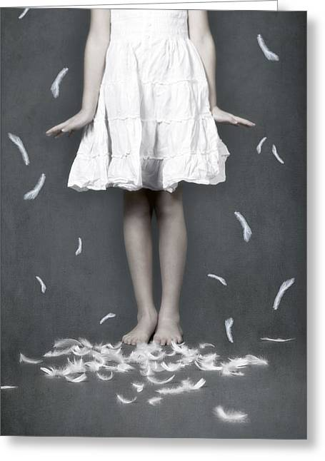 Floating Girl Greeting Cards - Feathers Greeting Card by Joana Kruse
