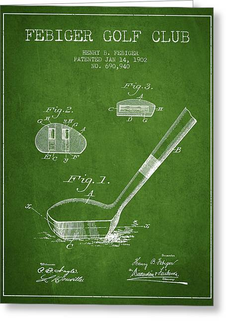 Game Digital Greeting Cards - Febiger Golf Club Patent Drawing from 1902 - Green Greeting Card by Aged Pixel