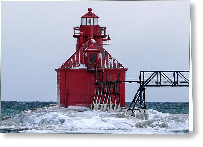 Sturgeon Greeting Cards - February At The Sturgeon Bay Lighthouse Greeting Card by Jeffrey Ewig