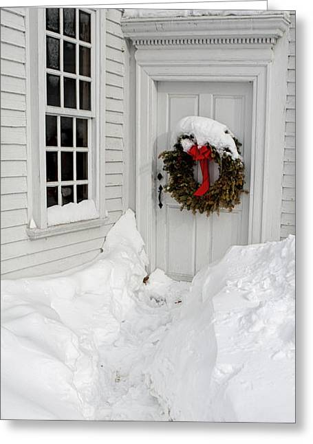 Meetinghouse Photographs Greeting Cards - February Footsteps Greeting Card by Scott Thorp