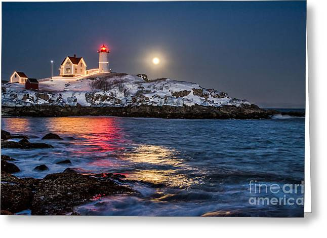 Cape Neddick Lighthouse Greeting Cards - February Full Moon Greeting Card by Scott Thorp