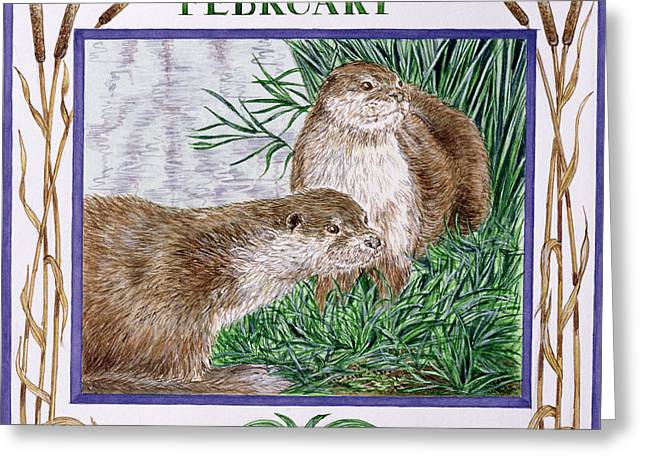 Otter Greeting Cards - February Wc On Paper Greeting Card by Catherine Bradbury