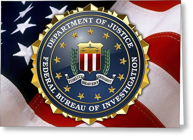 Patch Greeting Cards - Federal Bureau of Investigation - FBI Emblem over American Flag Greeting Card by Serge Averbukh