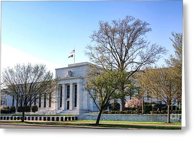 Constitution Greeting Cards - Federal Reserve Building Greeting Card by Olivier Le Queinec