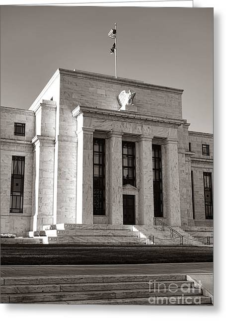 """""""washington D.c."""" Greeting Cards - Federal Reserve Greeting Card by Olivier Le Queinec"""