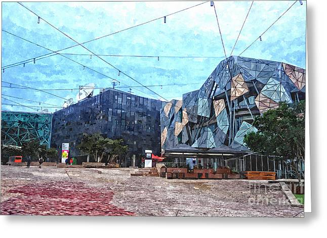 Fed Digital Art Greeting Cards - Federation Square in Melbourne Australia Greeting Card by Beverly Claire Kaiya