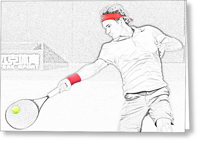 Forehand Greeting Cards - Federer Greeting Card by Ennis Alhashimi