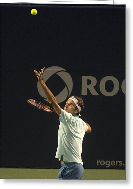 Roger Federer Greeting Cards - Federers Serve Greeting Card by Bill Cubitt