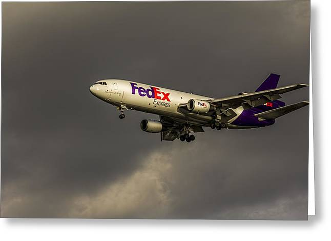 Landing Jet Greeting Cards - FedEx 052 Heavy Cleared to Land Greeting Card by Marvin Spates