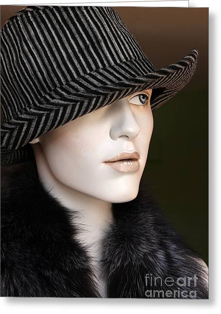 Fur Collar Greeting Cards - Fedora and Fur Greeting Card by Sophie Vigneault