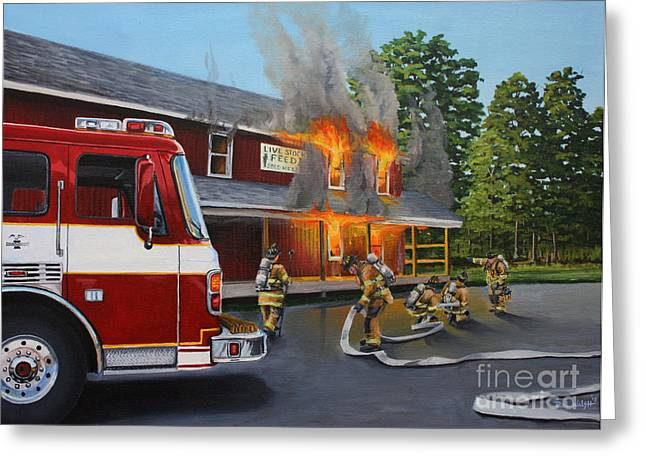 Hoses Greeting Cards - Feed Store Fire Greeting Card by Paul Walsh