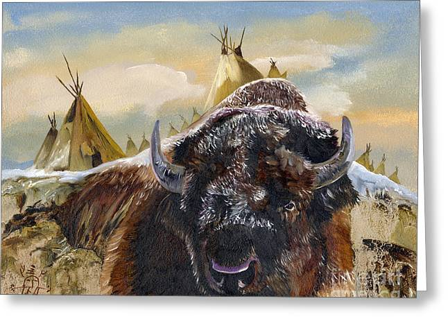 Buffalo Mixed Media Greeting Cards - Feed the Fire Greeting Card by J W Baker