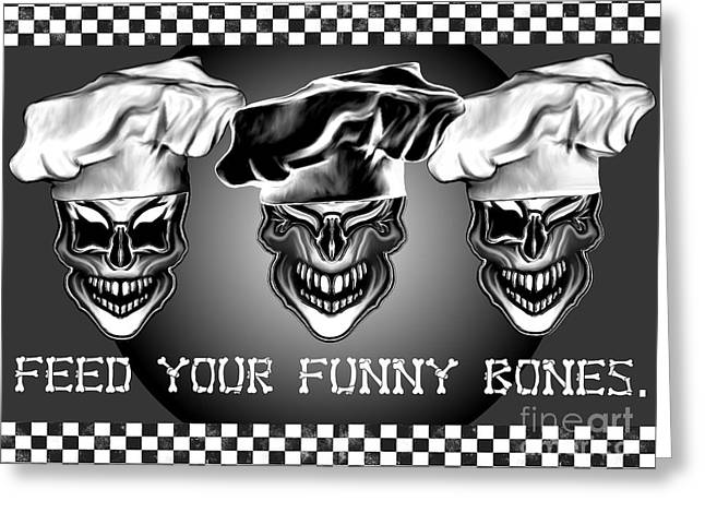 Whimsical Skull Greeting Cards - Feed Your Funny Bones Greeting Card by S Desiata