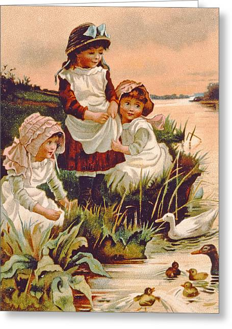 Youth Drawings Greeting Cards - Feeding Ducks Greeting Card by Edith S Berkeley