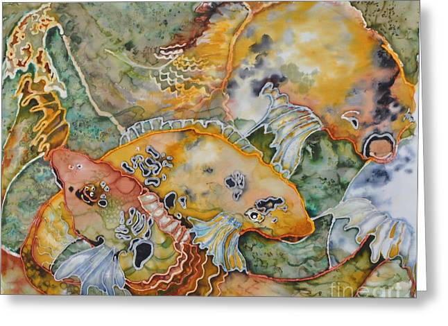 Pond Tapestries - Textiles Greeting Cards - Feeding Frenzy Greeting Card by Barb Maul