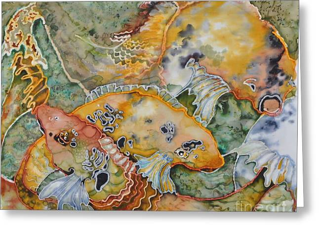 Orange Tapestries - Textiles Greeting Cards - Feeding Frenzy Greeting Card by Barb Maul