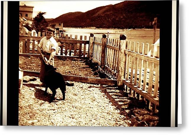 My Ocean Greeting Cards - Feeding my Little Black Lamb Greeting Card by Barbara Griffin