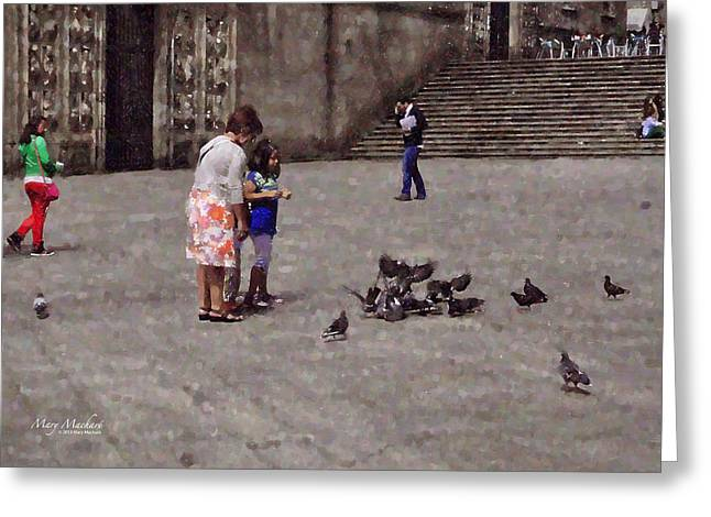 Stone Steps Digital Art Greeting Cards - Feeding Pigeons in Santiago de Compostela Greeting Card by Mary Machare