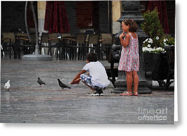 Feeding Digital Greeting Cards - Feeding Pigeons in the Plaza Greeting Card by Mary Machare