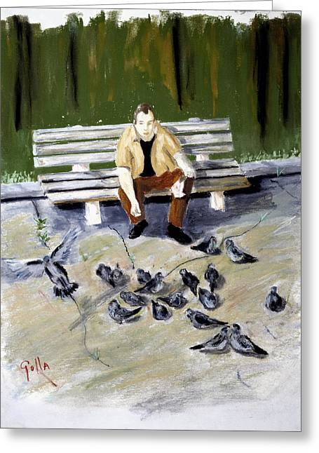 Feeding Pastels Greeting Cards - Feeding Pigeons Greeting Card by Lawrence Golla