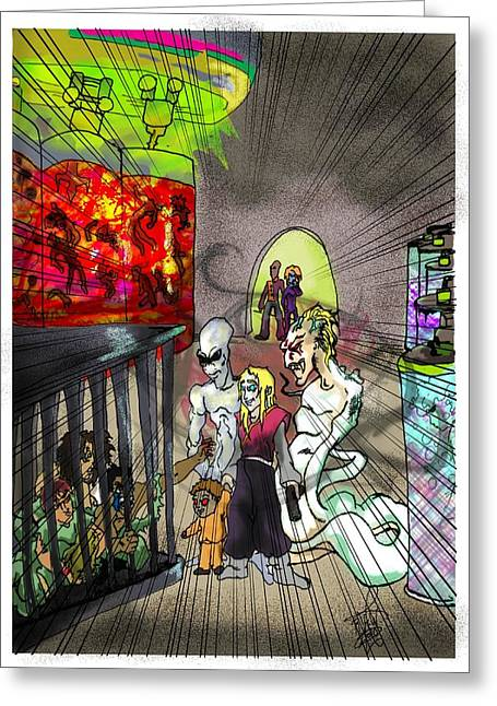 Feeding Mixed Media Greeting Cards - Feeding Room Greeting Card by Ronnell Williams