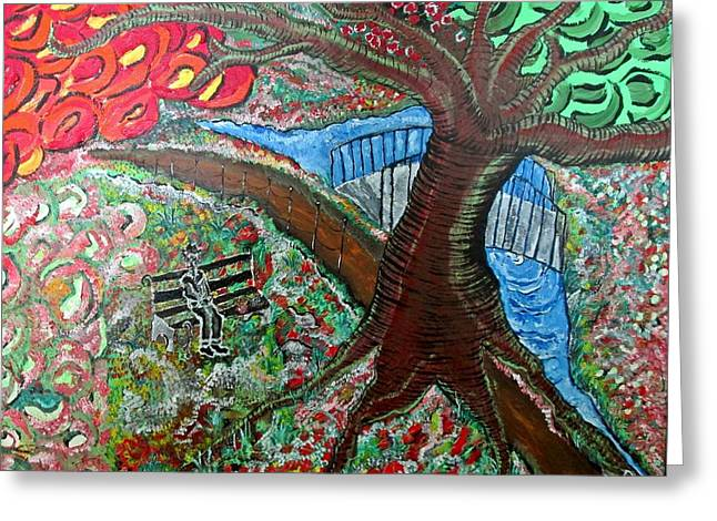 Acylic Painting Greeting Cards - Feeding the Birds Greeting Card by Matthew  James