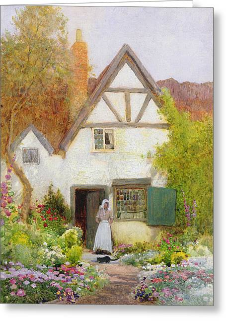 Farm Stand Greeting Cards - Feeding the Cat Greeting Card by Arthur Claude Strachan