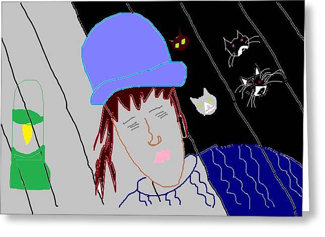 Anita Dale Livaditis Greeting Cards - Feeding the Cats at Night Greeting Card by Anita Dale Livaditis