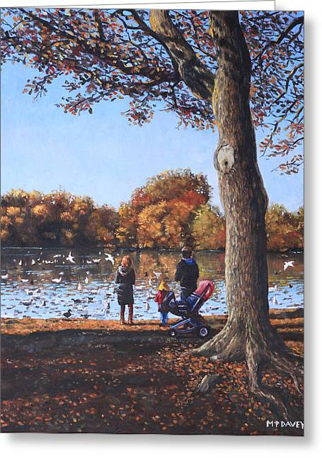 Duck Pond Greeting Cards - Feeding the Ducks at Southampton Common Greeting Card by Martin Davey