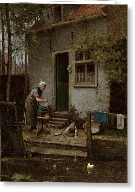 Feeding Greeting Cards - Feeding The Ducks Greeting Card by Bernardus Johannes Blommers or Bloomers