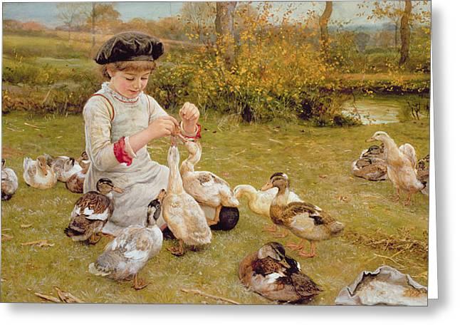 Beret Greeting Cards - Feeding The Ducks Greeting Card by Edward Killingworth Johnson
