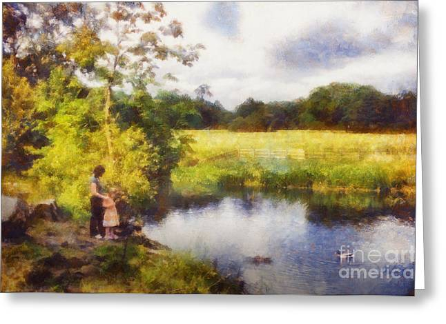 Duck Pond Greeting Cards - Feeding the ducks Greeting Card by Pixel Chimp