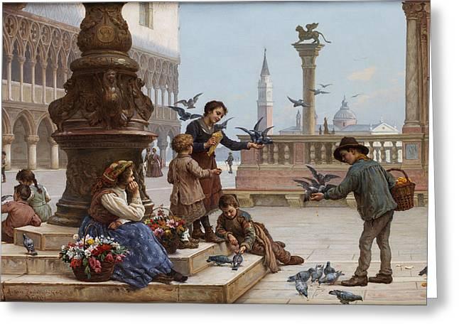 Feeding The Pigeons Greeting Card by Antonio Paoletti
