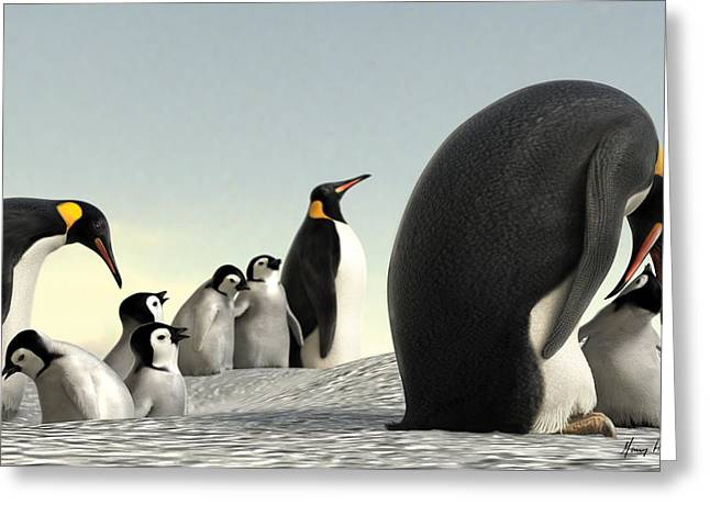 Emperor Penguin Greeting Cards - Feeding Time Greeting Card by Gary Hanna