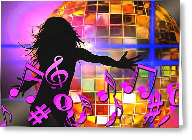 Disco Mixed Media Greeting Cards - Feel Like Dancing Greeting Card by Georgiana Romanovna