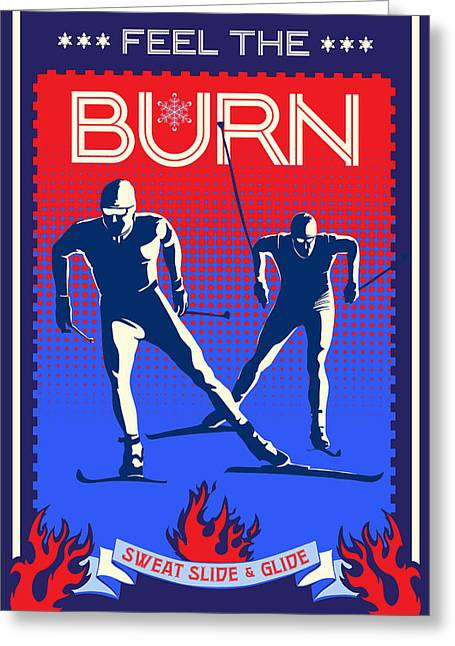 Skiing Art Posters Greeting Cards - Feel the Burn XSki Greeting Card by Sassan Filsoof