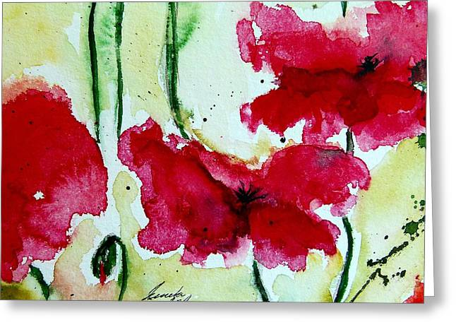 Feel the Summer 2 - Poppies Greeting Card by Ismeta Gruenwald
