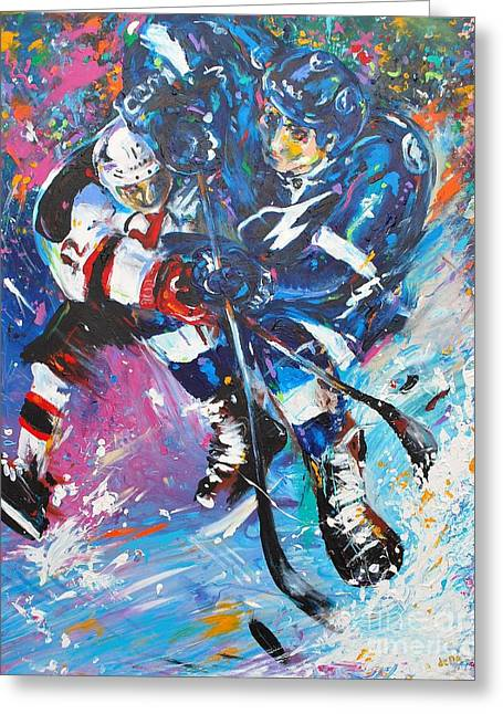 Hockey Paintings Greeting Cards - Feel The Thunder Greeting Card by Dena Lowery